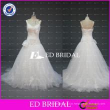 ED Bridal Sample Pictures Spaghetti Strap Flower Lace Bodice A Line Tulle Vestidos de casamento
