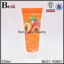 250 ml cosmétique de tube souple avec capuchon supérieur rabattable