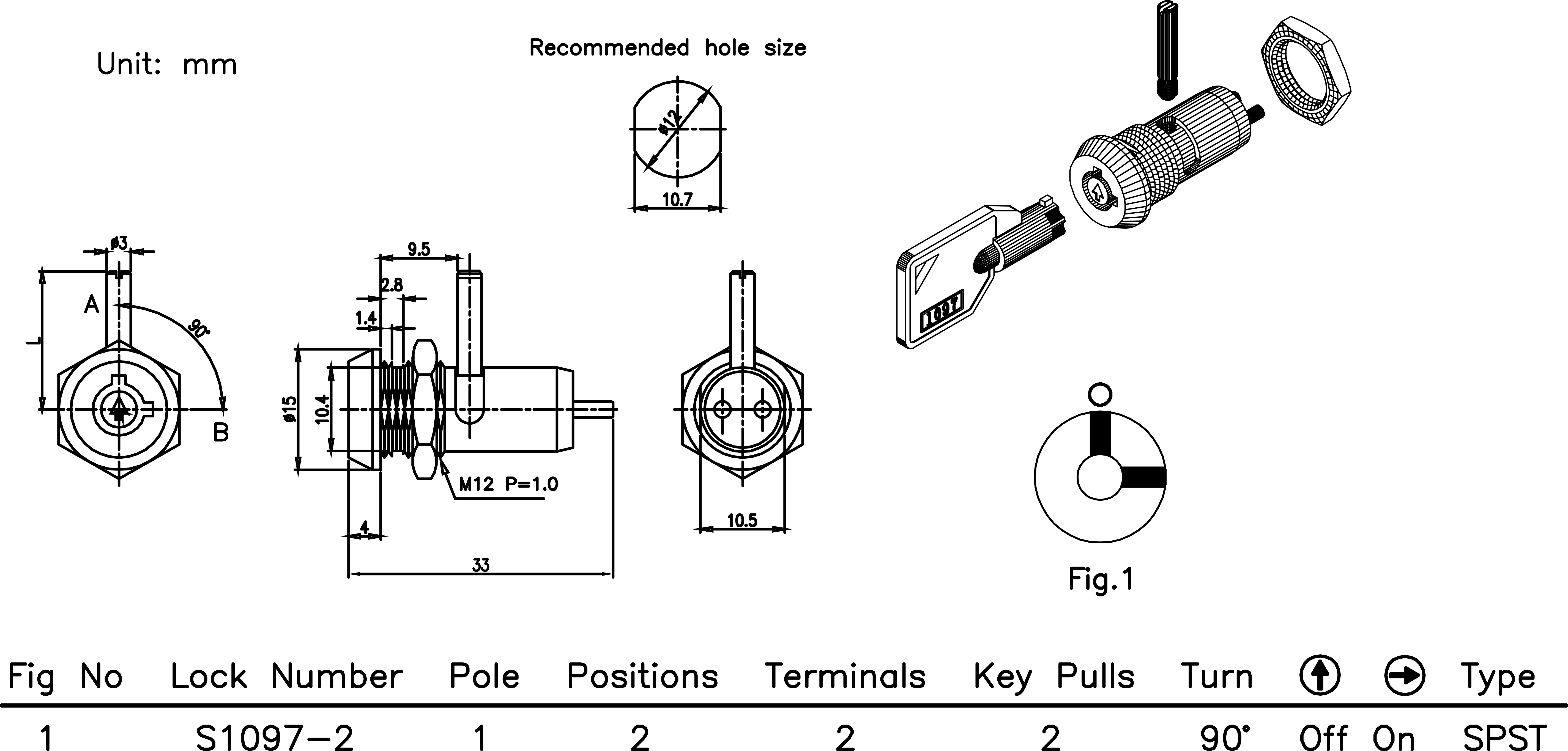 2 Position Key Switch