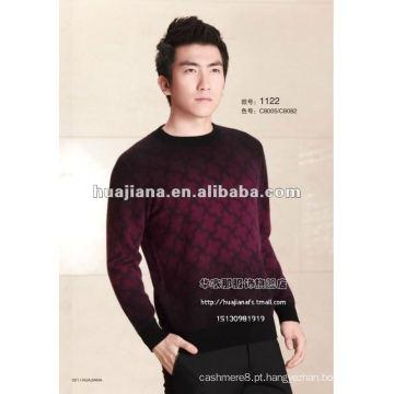 tingimento de imitação de suéter de malha de cashmere masculina