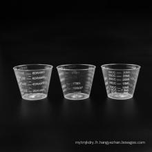 Tasse à mesurer transparente en plastique PS