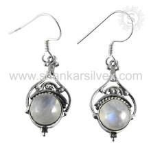 Pendiente de piedra de la luna del arco iris de Graceful 925 de la plata esterlina de la joyería al por mayor de la joyería