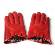 Leather Half Gloves with Wrist Bow for Women