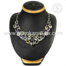 Girls beauty bridal jewelry multi gemstone 925 sterling silver necklace jewellery manufacturing india