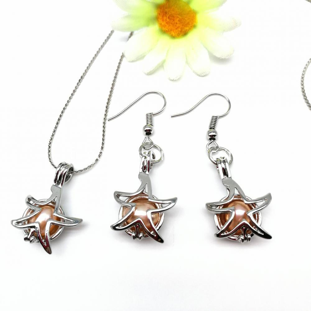 Starfish Shaped Locket Pendant Earrings And Necklace