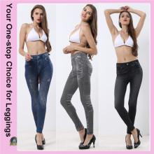 Плюс Размер Высокие карманы талии Подгонянные печатные эластичные джинсовые поножи