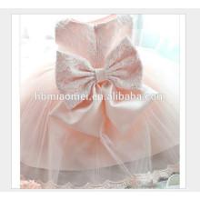 Heiße verkaufende sleeveless rosa Farbe scherzt Parteiabnutzungs-Mädchenkleid neue Art und Weise geschnürtes Baby-Parteiabnutzungskleid mit großem Bogen