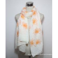 Senhora moda flor impresso lenço de algodão voile franja (yky1086)