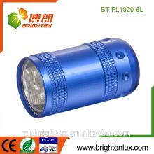 Hot Sale Mignon en forme d'utilisation en plein air Matériau en aluminium Bright 6 Led Torch 2 * CR2032 Batterie Mini-lampe à LED
