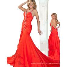 Orange Halter Backless Dressée Robe de soirée avec strass TP12-02