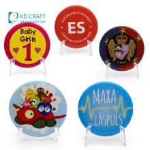 Cheap items custom metal tinplate printing resin reflective school name magnetic button badge