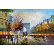 Großhandel Wand Kunst Paris Street Ölgemälde (EPS-036)