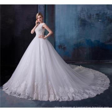 Elegante laço de apliques de cristal frisado mulheres vestido de noiva vestido de noiva