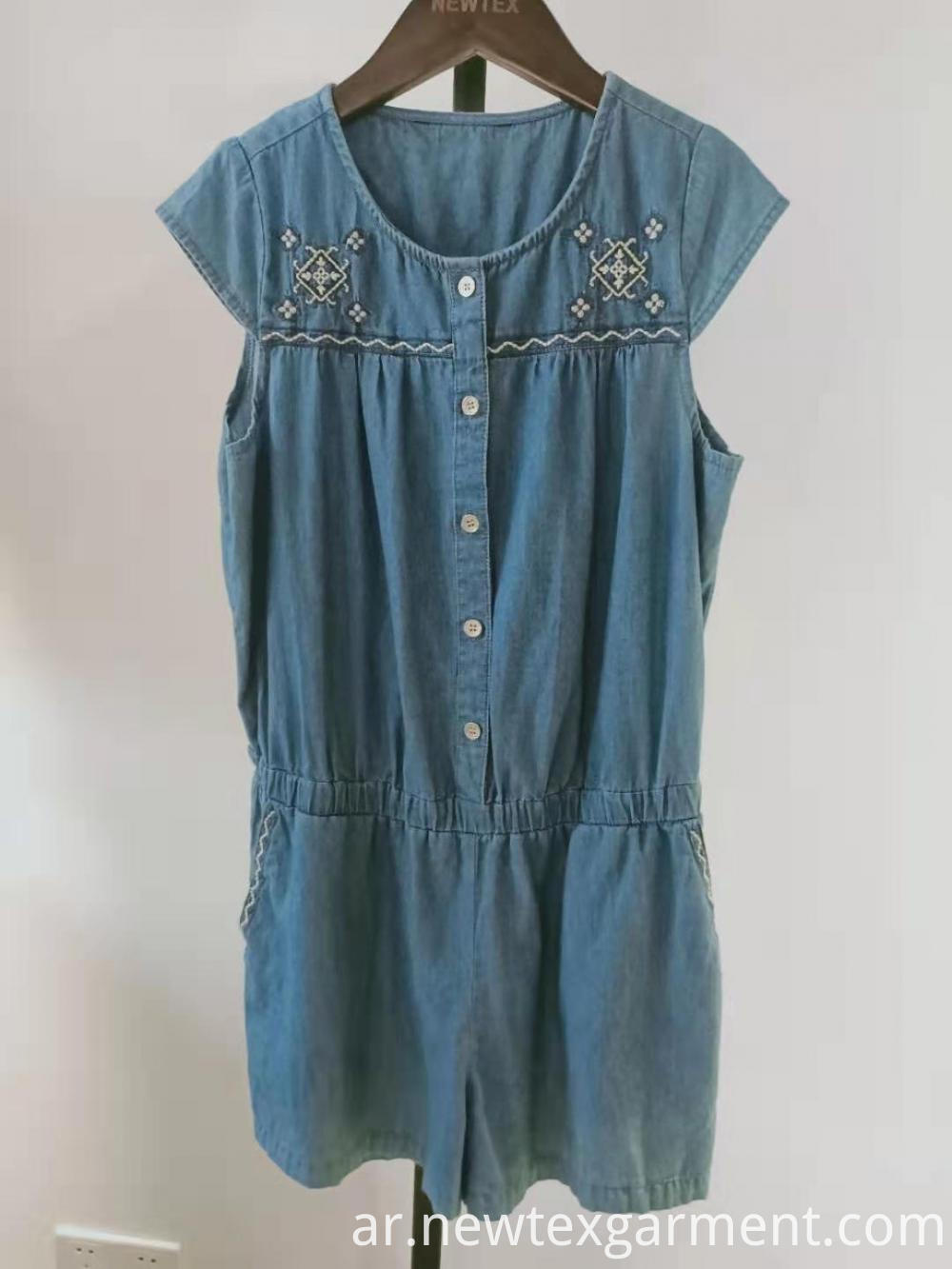 casual embroidery kids jumpsuit