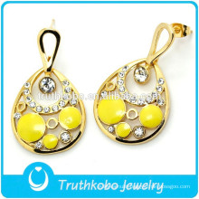 IP Golden Yellow white Drop Earring Shiny CZ Stone Earring USA Style Wedding Earring for Wholesale
