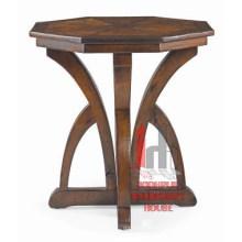 Mesa central redonda de madera