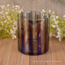 Decorative Straight Walled Glass Candle Containers with Electroplating Color Effect