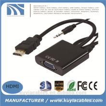 Nouveau HDMI mâle vers VGA femelle avec audio HD Video Cable Converter Adapter 1080P pour PC