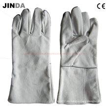 Cuero de cuero de trabajo de soldadura guantes (L014)