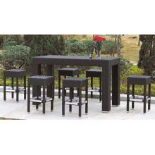 Rattan Bar Long Table with 6 Bar Stools