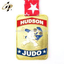 Médailles de judo de sport en métal émaillé or sur mesure avec lanière