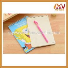 Caderno espiral de desenho bonito e desenho animado, caderno escolar popular