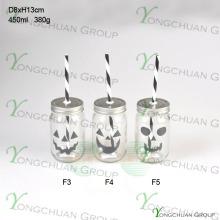 Haute qualité 16 oz Drinking Glass Mason Jar avec paille de Halloween et couvercle en étain Vente en gros
