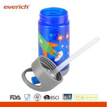Everich 350ml Tritan BPA Freie Trinkwasserflasche mit Trinkhalm