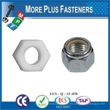 Fabricado en Taiwán M8-1.25 DIN 985 Grado A2 Nylon de Acero Inoxidable Insert Lock Nut