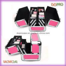 Style de dames de couleur rose composent organisateur cas avec quatre plateaux (SACMC141)