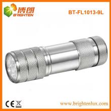Factory Supply Laser Logo Aluminium 3 AAA Dry Battery Powered 9 led Meilleur Lampe de poche bon marché avec bracelet
