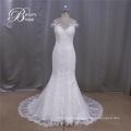 2016 Cap Sleeve Sheer Back Sweetheart Mermaid Lace Wedding Dresses