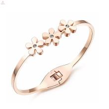 Déclaration bonne chance amour acier inoxydable cristal rose or fleur bracelet