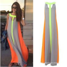 Hot Sale Summer Stitching Chiffon Maxi Fashion Dress (50566)