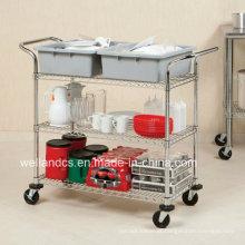 Carro utilitário de metal NSF / carrinho de serviço para hospital (CJ904590A3CW)