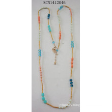 Colorful Seed Bead Necklace with Metal