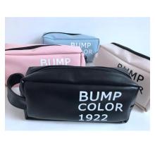 Custom logo printed large capacity PU material portable cosmetic bag students pencil bag