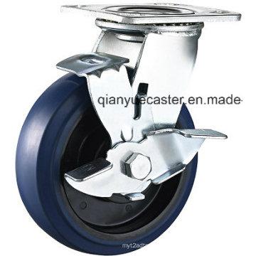 Heavy Duty Elastic Rubber Swivel Casters and Wheels