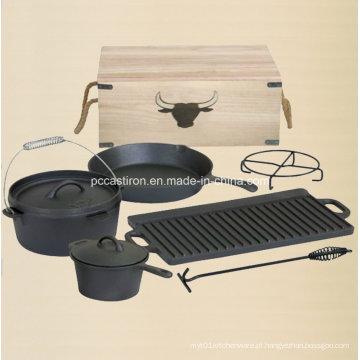 Preseasoned ferro fundido holandês forno Outdoor Camping Set