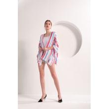 Kimono à manches courtes et rayures ouvertes sur le devant