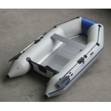 Petit bateau gonflable de plancher en aluminium, PVC de bateau à rames