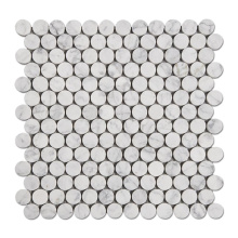 White Carrara In Marble High Quality Mosaic Round Penny Round Mosaic Tiles