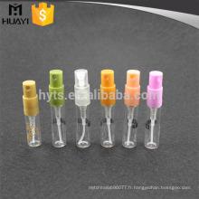 vente en gros 2 ml clair en verre mini fiole pour le parfum