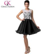 2015 Grace Karin Kurze schwarze Heimkehr Kleider Muster Ärmellose Spitze Heimkehr Kleider CL6123-2 #