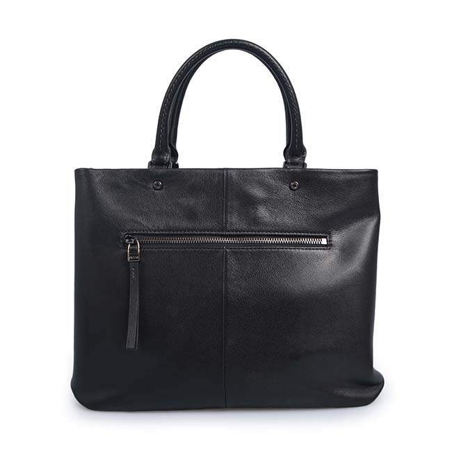 fashion metal handle black napa leather tote bags women handbag