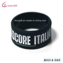 Cor preta injetar logotipo pulseira de Silicone
