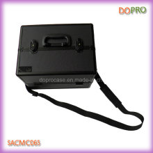 Todo negro diamante ABS plástico cosméticos casos de maquillaje (saccom065)