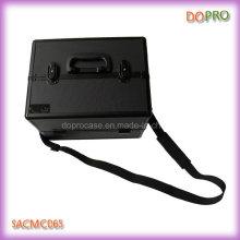 Todo preto diamante ABS plástico cosméticos casos para maquiagem (saccam065)