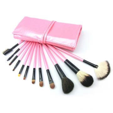 12PCS Animal Hair Makeup Tool Cosmetic Brush Set with Pink Pouch