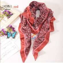 Lingshang new design lady's pure acrylic handmade knitted triangular attached bowknot scarf